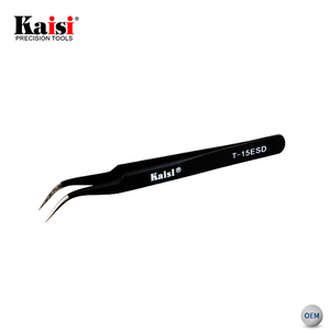 Kaisi T-15 ESD Safe Precision High Hradness Curved Stainless Steel Pointed Tweezers