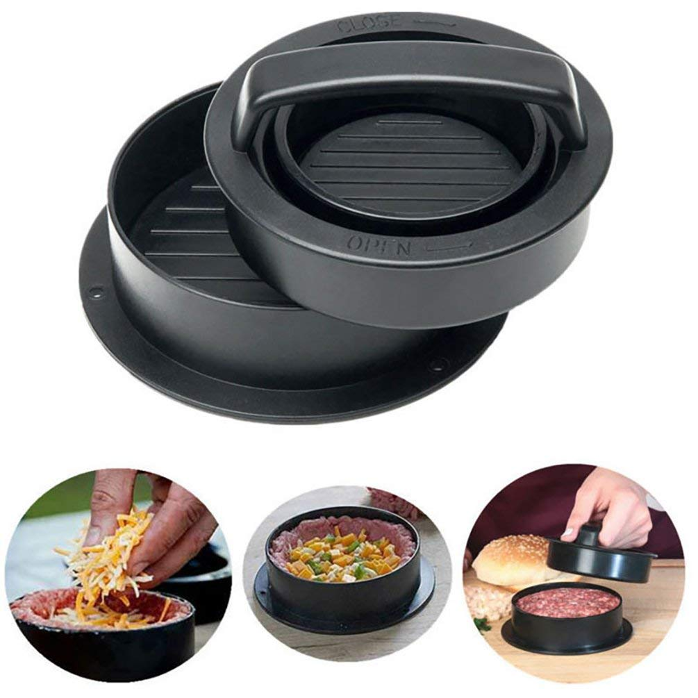 ViewHuge Hamburger Patty Maker for BBQ Grill,3-in-1 Non Stick Stuffed Burger Press Kitchen Tool