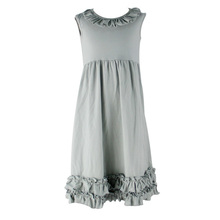 Wholesale boutique sleeveless baby dresses girls cotton frock designs kids solid gray gown