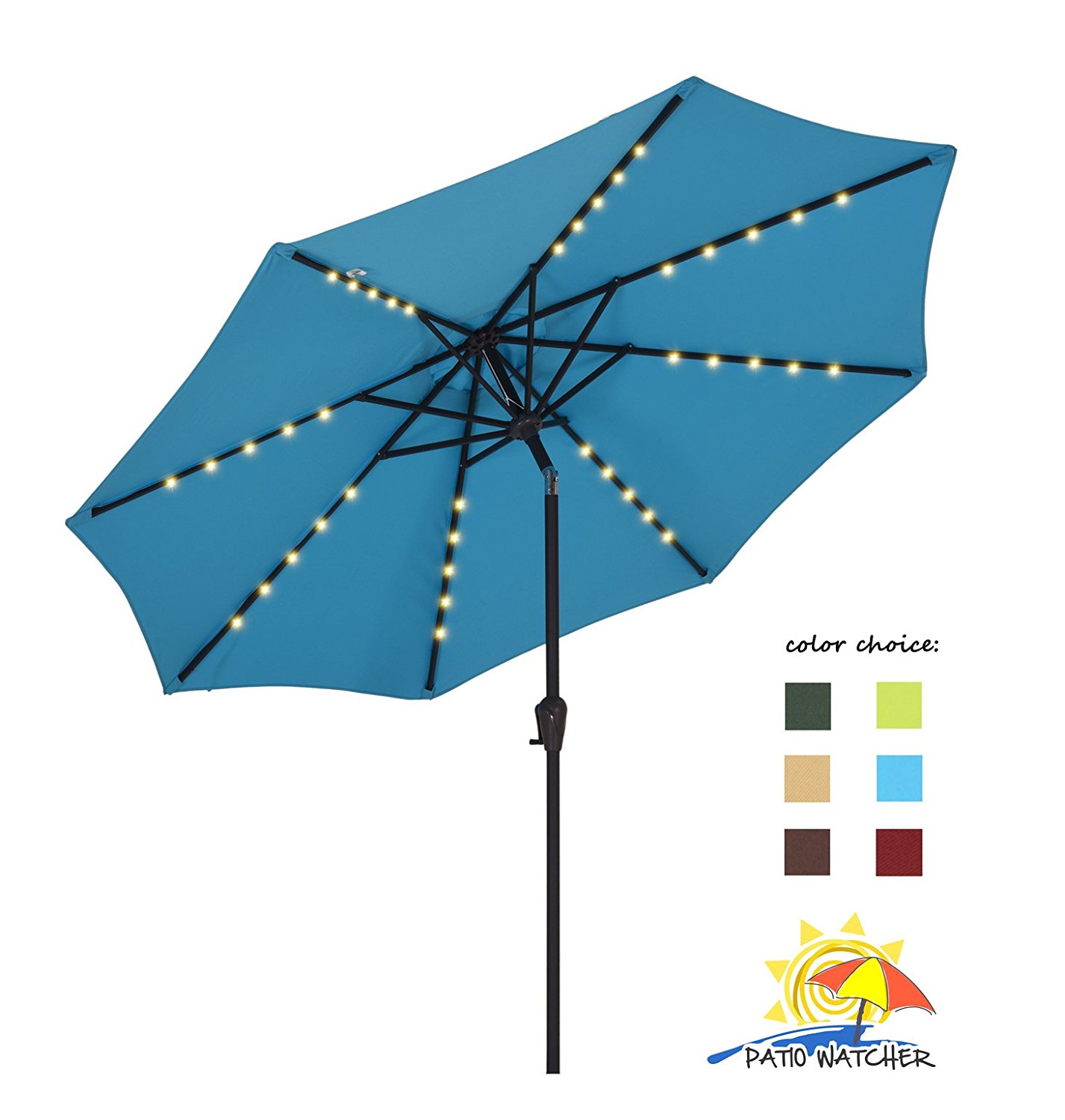 Get Quotations · Patio Watcher 9FT Outdoor Solar Powered 40 LED Lighted  Outdoor Patio Umbrella With Crank And Push
