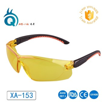 Outdoor Pc frame uv Z87 safety glasses EN166 safety goggle glasses anti-fog protective eyes with yellow lens