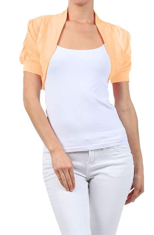a4749a02e8 Get Quotations · Solid Cotton Shirred Ruched Short Sleeve Bolero Crop Shrug