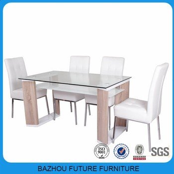 Uae Home Centre Supplier Wholesale Wooden Frame Top Glass Dining
