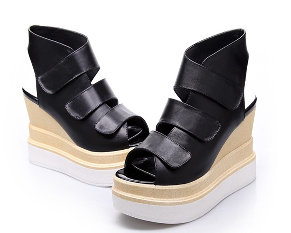 2015 Hot Style Sexy Open Toe Women Summer Platform Genuine Leather Sandals Comfortable Wedges Thick Bottom Shoes Lady High Heels