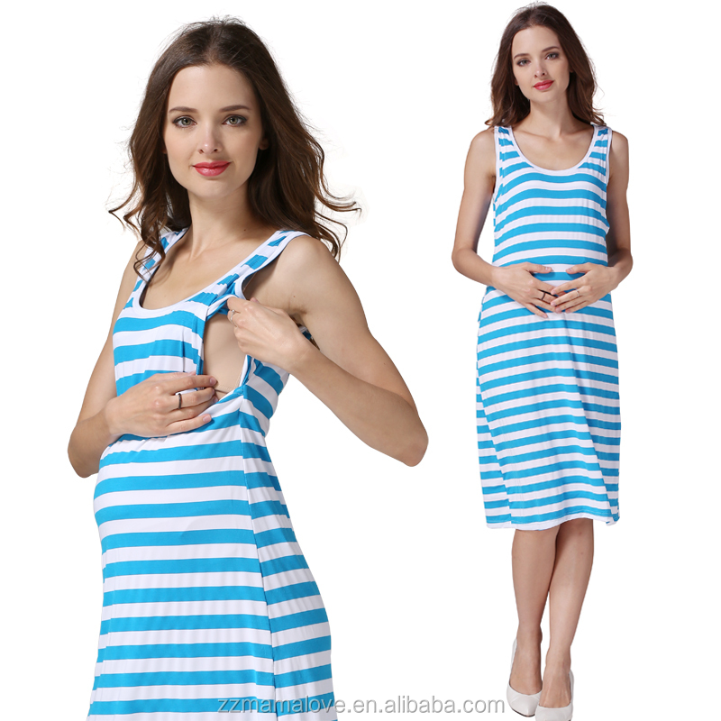 Best Sale Blue Stripe Sleeveless Cool Summer Baby Shower <strong>Maternity</strong> Clothes Nursing <strong>Dress</strong>