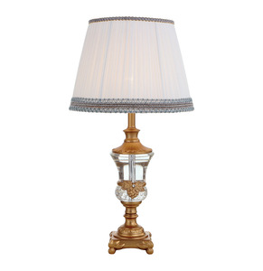 Modern style zinc alloy fabric lamp shade exquisite crystal table lamps