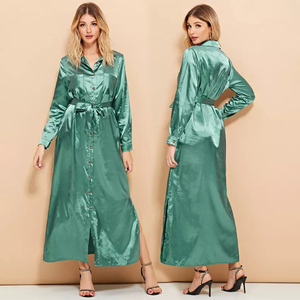 Elegant single breasted long maxi green fashion dress