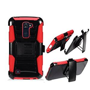 Phone Case for Straight Talk LG Premier 4G LTE Red Edge Cover Kickstand Combo Holster Belt Clip For Tracfone Lg K10 4g LTE (T-Mobile)