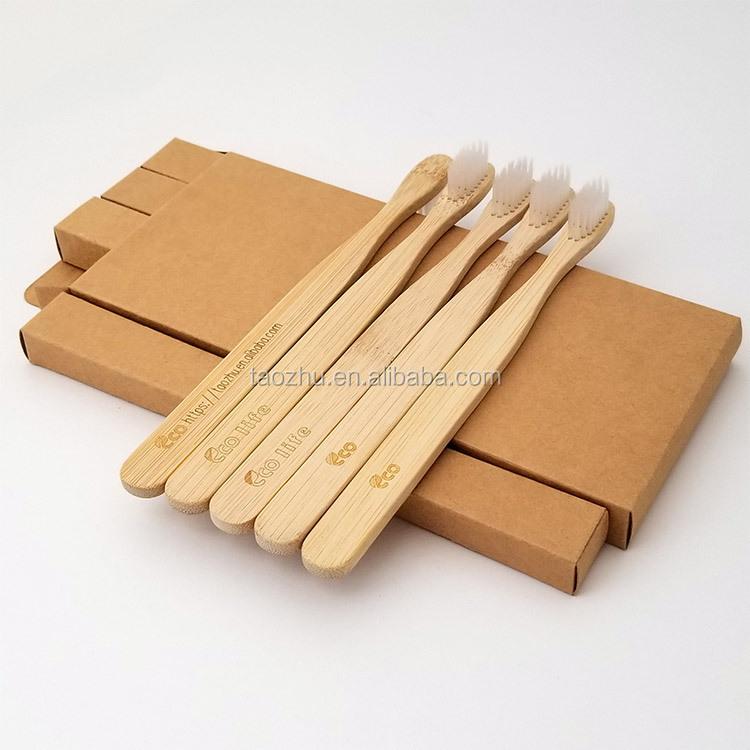 Ekolojik Koruma Ürünleri bambu Diş Fırçası 5 başlar otel seyahat bambu diş fırçası