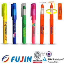 2 in 1 multi functional highlighter and ballpoint clear plastic pens refill combined/marker pen/ballpoint pens for the publicity