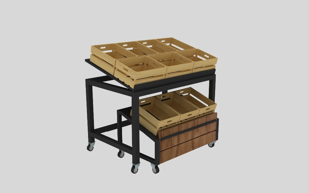 fruit vegetable tier and produce bin detail product display rack shelves