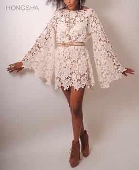 f310ec04d44ee Womens Boho Clothing Bohemian Style Bell Sleeve White Lace Dress HSD2328