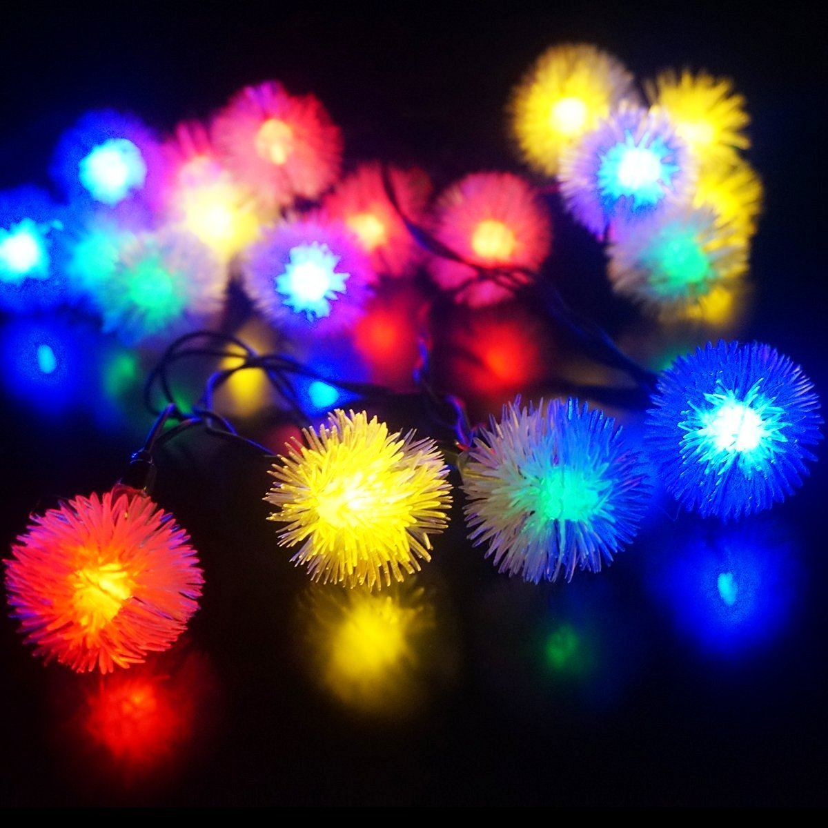 fashionlite solar lights 50 leds chuzzle ball solar powered string lights outdoor christmas lights garden yard - Solar Powered Outdoor Christmas Decorations