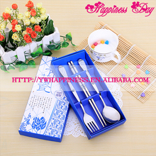 Stainless Steel Chopsticks Spoon Fork High-end Tableware Set Promotional Gifts Blue And White Porcelain Wedding Favors