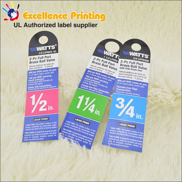 Printed size hang tags