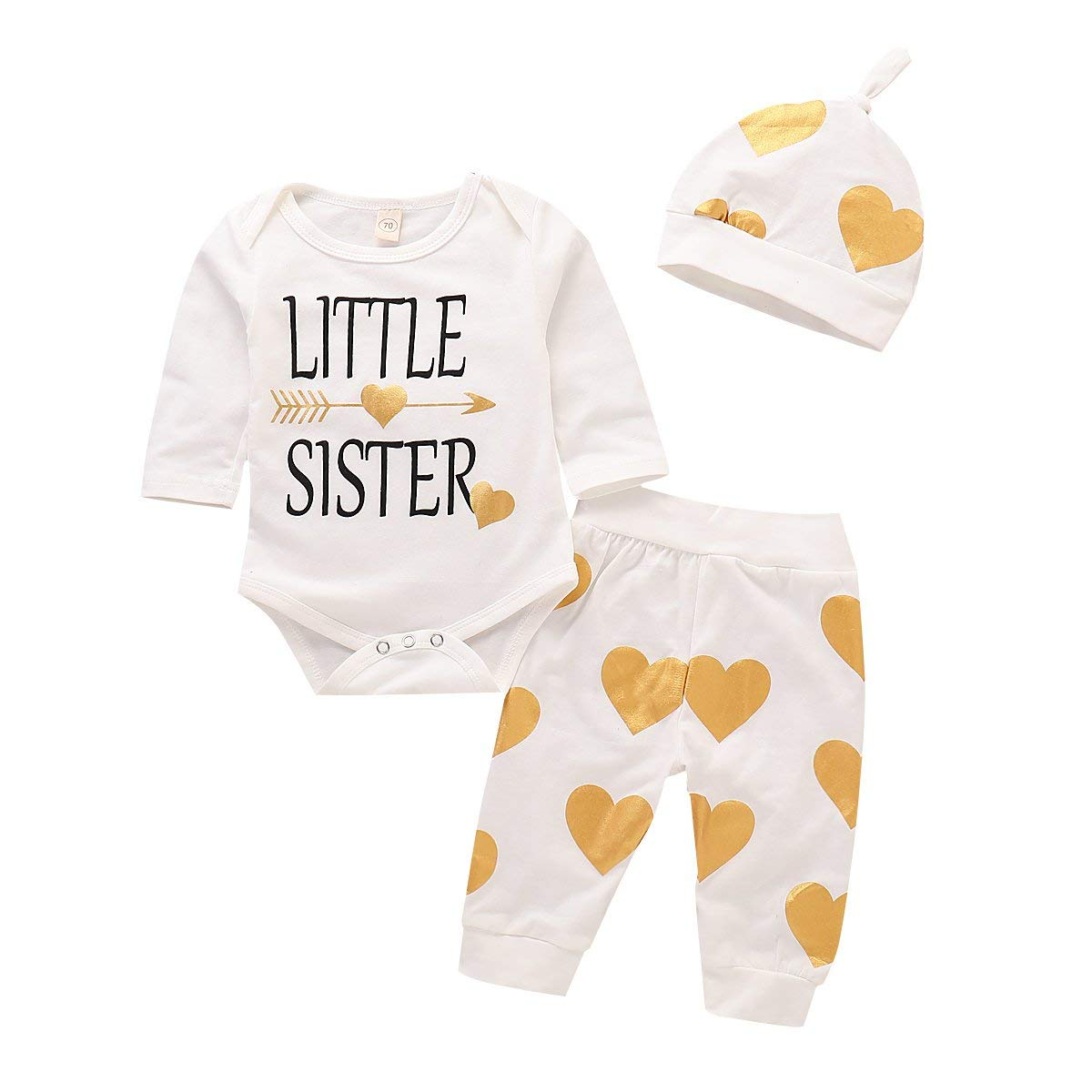 8a341e036 Get Quotations · Baby Girl Outfits Clothing Set Little Sister Romper  Bodysuit Gold Heart Pants Outfits with Hat 3PCS