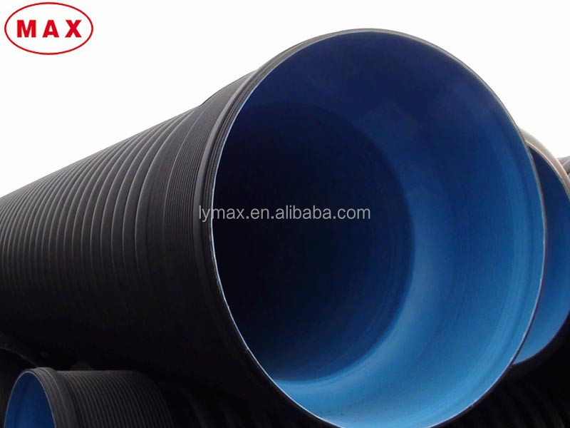 Large Diameter HDPE Corrugated Pipe / Plastic High Density PE Double Wall Corrugated Drain Pipe from China