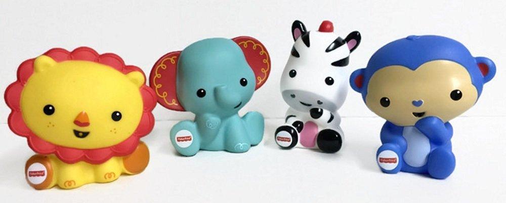 Fisher Price Baby Bathtime Squirter Bundle includes 4 items: 1 Safari Elephant, Lion, Monkey, and Zebra