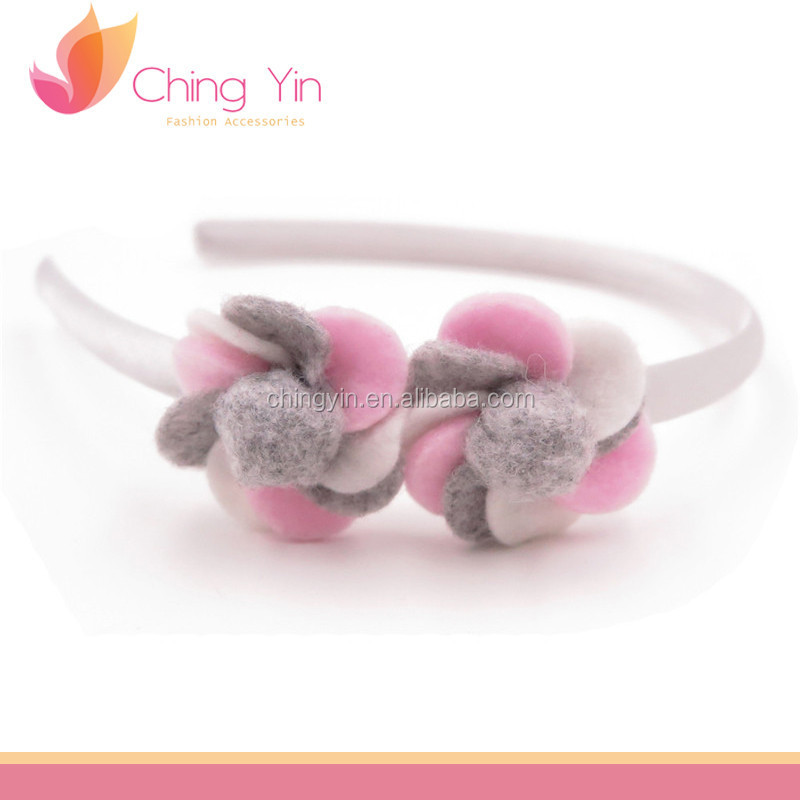 Cute Baby Girls' Fashion Hair Accessories Felt Flower Plastic Headband Hair Band