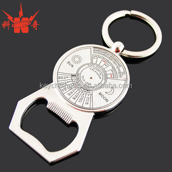 Customized metal bottle opener keychain with perpetual calendar