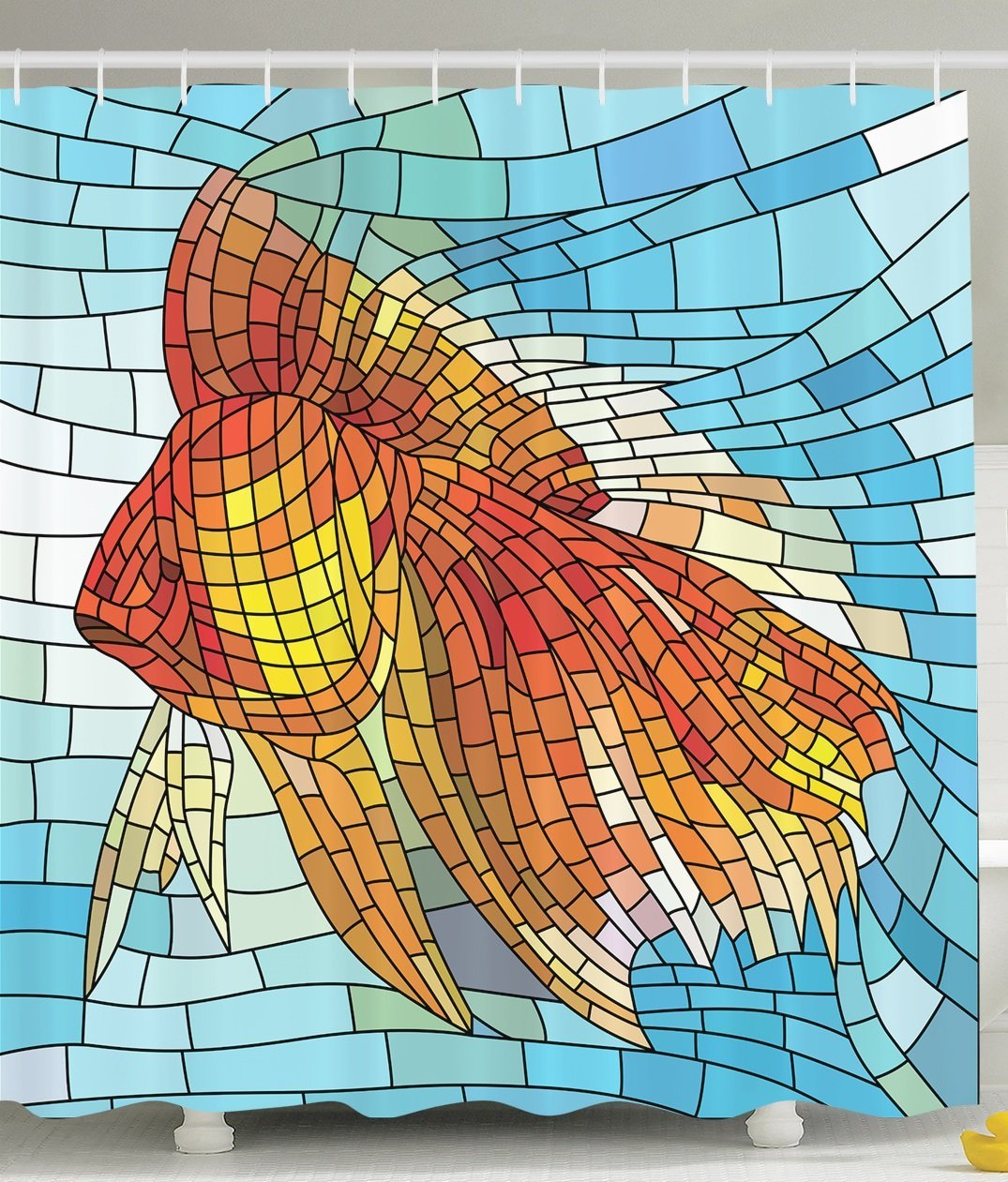 Fish Shower Curtain Personalized Decor Abstract Design for Bathroom Orange Tropical Fish Style with Mosaic Art Pattern Stained Glass Window and Gold Fish Underwater Blue Ocean Decorations Print