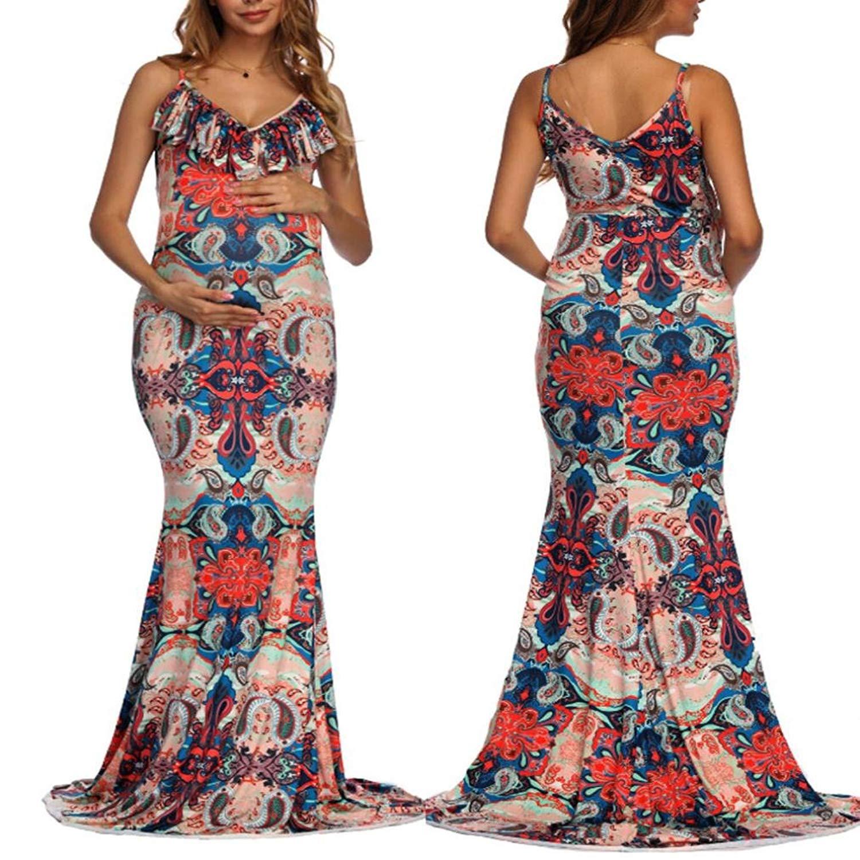 16596fcdc5860 Get Quotations · Pregnant Dress,WensLTD Womens V-Neck Pregnant Ruffles  Photography Nursing Printed Maternity Camis Dress