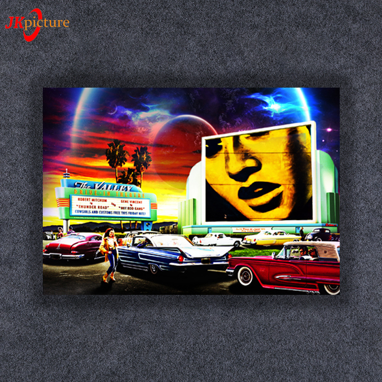 Car canvas art printing lit home decoration with light classical oil painting