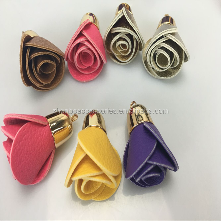Zhenbo Wholesale stock Flowers bones bulk PU leather tassel keychain