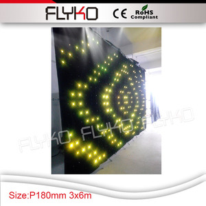 multi color 3in1 full color P18 led video curtain wall decoration free  software for design