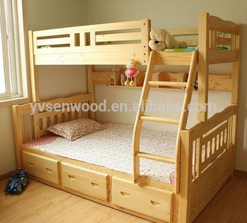 Wooden Bed Modern Kids Double Deck Bed