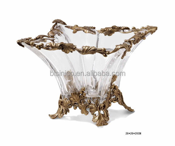 Ornamental Crystal & Brass Square Fruit Bowl With Leaves Edge, Clear Crystal Decorative Compote With Gilt Bronze Base