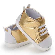 2018 fashion magic sticker shining glossy leather baby shoes