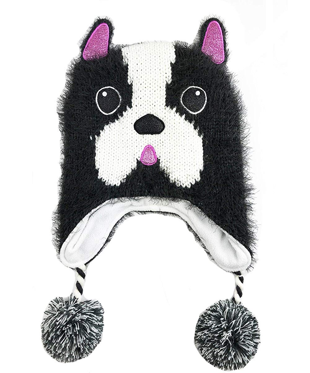 48c3e6683fcbe Get Quotations · Sweet Giraffe Chenille French Bulldog Winter Poms Hat    Charcoal White