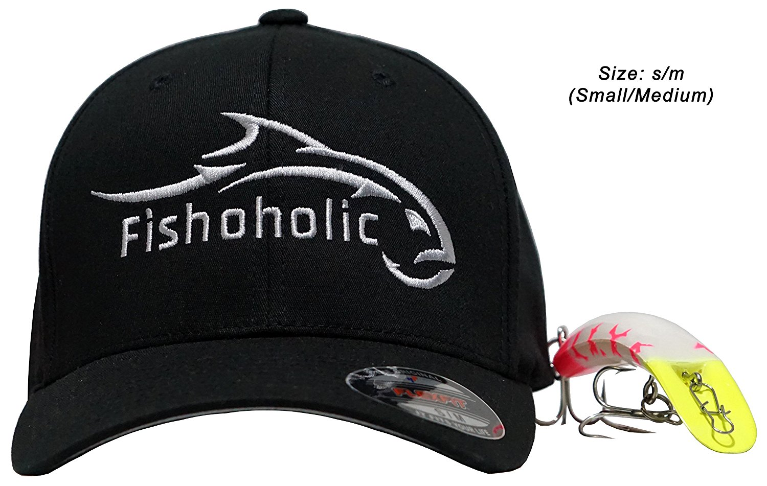 Fishoholic Flexfit Black Baseball Fishing Hat. Fishaholic ALL SILVER Embroidery Front & Back Small/Medium. Great Gift. Free Sticker. USPTO Registered (R) Trademark. (FF-blk-SlvSLVR-S/M)