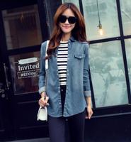 MS81549N 2016 spring korean Casual dress lapel long sleeve long denim shirt