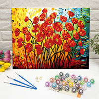 abstract poppies DIY wall art paint by numbers on framed canvas