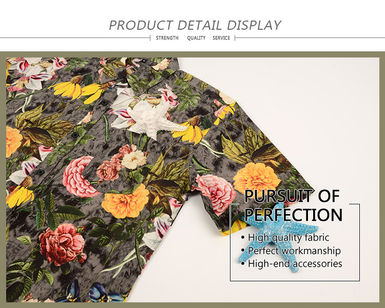 Factory supplier eco friendly short sleeve hawaii style elegant flower shirt men