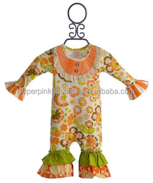 china cheap 100 cotton winter ruffle romper for kids
