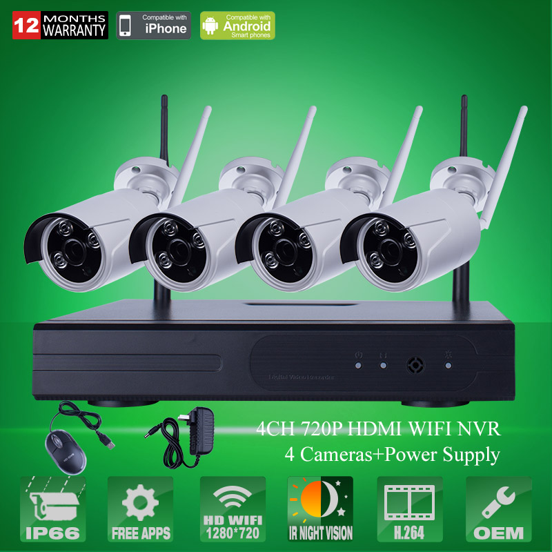 2016 New Plug And Play 4CH CCTV System Wireless NVR Kit P2P 720P HD Outdoor IR Home Security Surveillance WIFI IP Camera