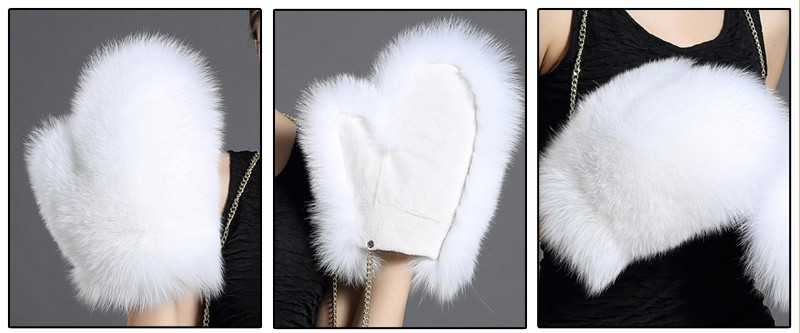 Fox Fur Gloves New Women Luxury Genuine Fur Glove For Great Solid With Strap Russian Guantes Men's Gloves