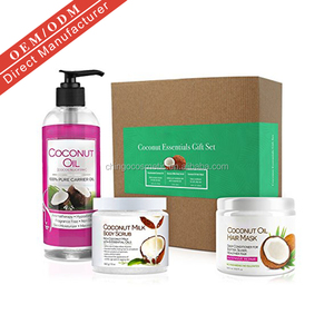 Natural Gift Set Deep Conditioning Hair Mask Exfoliating Scrub Fractionated Coconut Oil