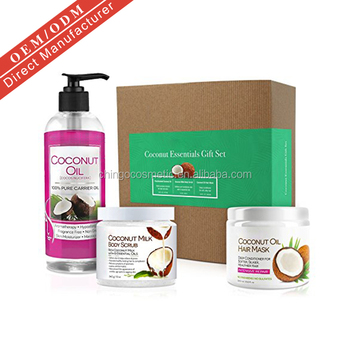 Natural Gift Set Deep Conditioning Hair Mask Exfoliating Scrub Fractionated  Coconut Oil - Buy Fractionated Coconut Oil,Hair Mask,Scrub Product on