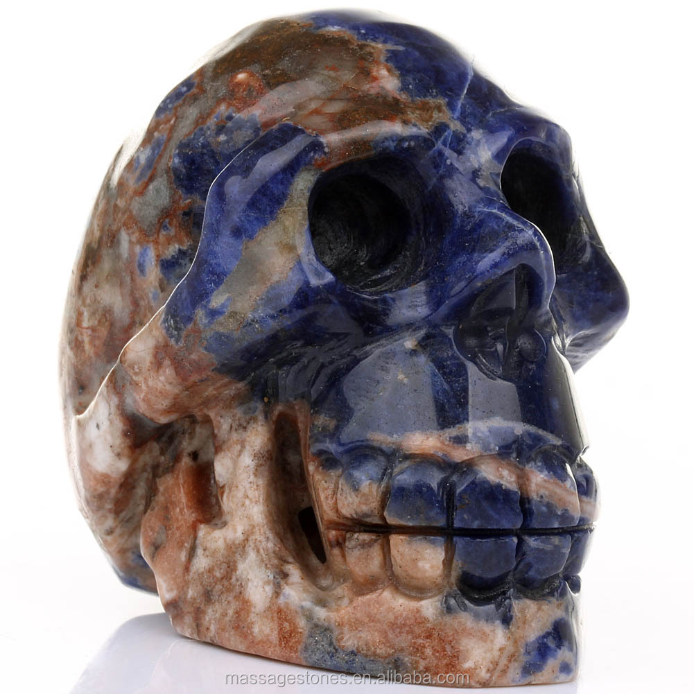 Blue Sodalite Skull Decorative Head Skull