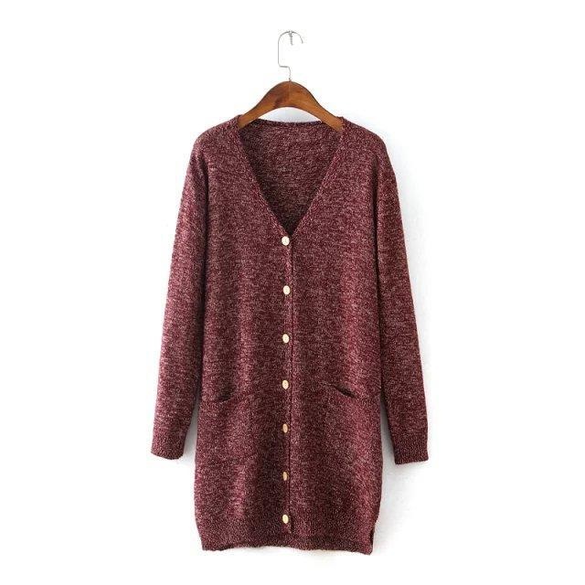 2ff6caac69 Get Quotations · 2015 Autumn New Korean Long Cardigan Double Pocket Knit  Cardigan Women Solid Color Single Breasted Knitted