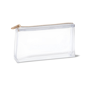 Wholesale cheap easy to clean rectangle clear pvc plastic clutch make up cosmetic brush bag