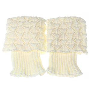 Socks - SODIAL(R)Women Crochet Knitted Trim Boot Cuffs Toppers Liner Leg Warmer Socks Color:White