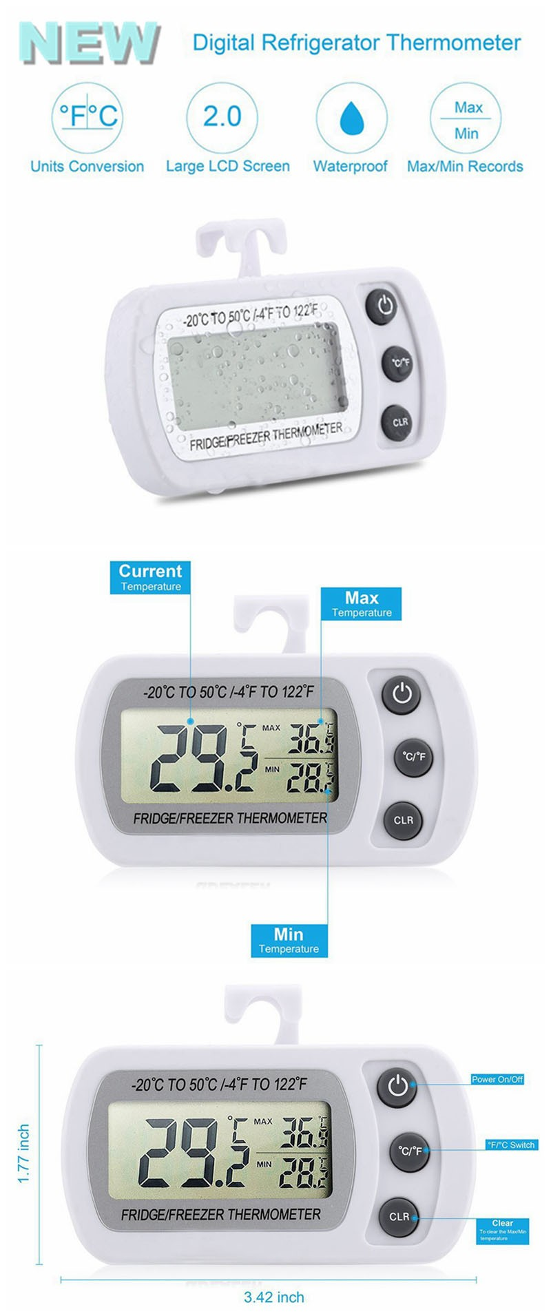Fridge Freezer Thermometer Features alarm and dual sensors for fridge and room temperatures