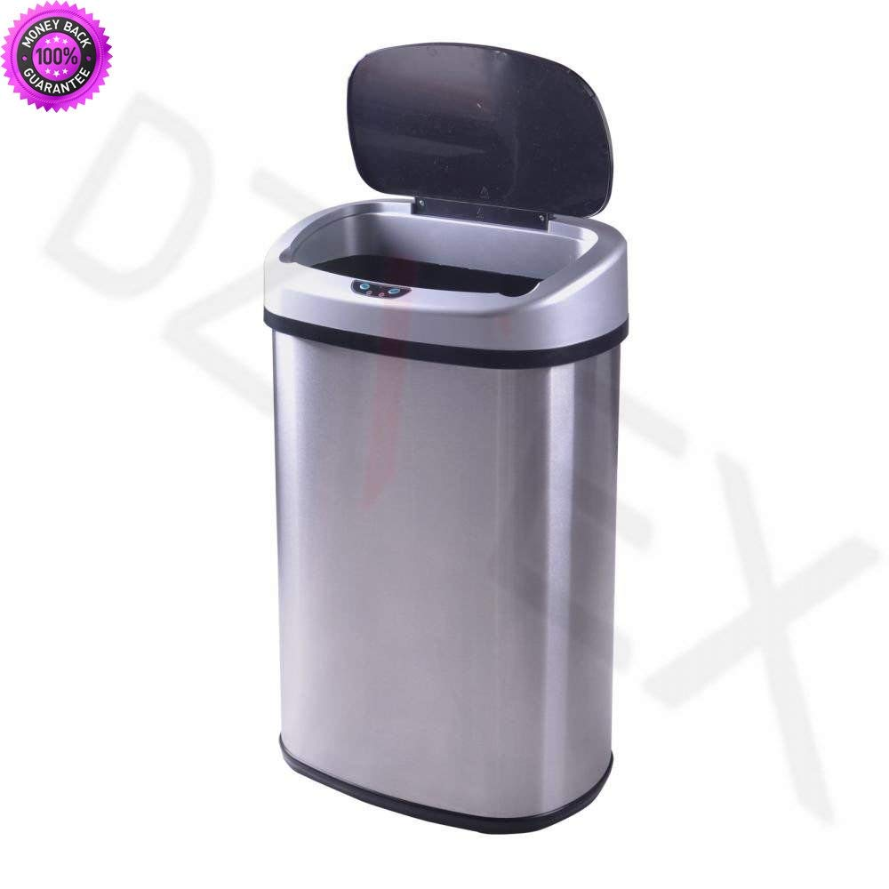Get quotations · dzvex new 13 gallon touch free sensor automatic stainless steel trash can kitchen