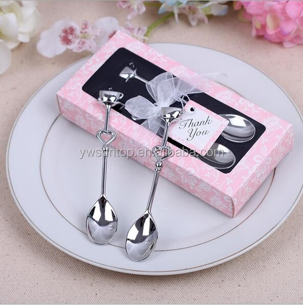 Lovely Wedding Party Gifts Double Heart Shaped Measuring Coffee Spoon Set