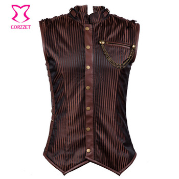 Striped Cotton Brown Sexy Corset Steampunk Jacket Coat Men Gothic Clothing